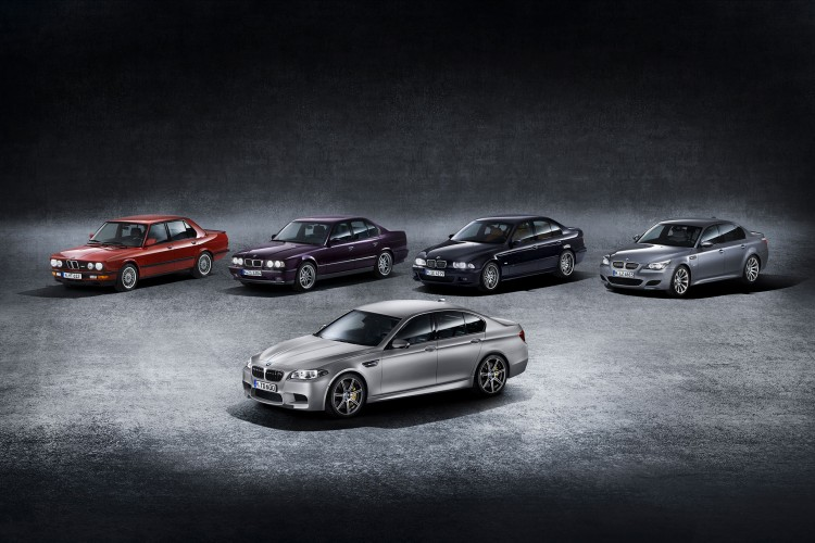 2015 bmw m5 30th anniversary edition with four generations of m5s 750x500