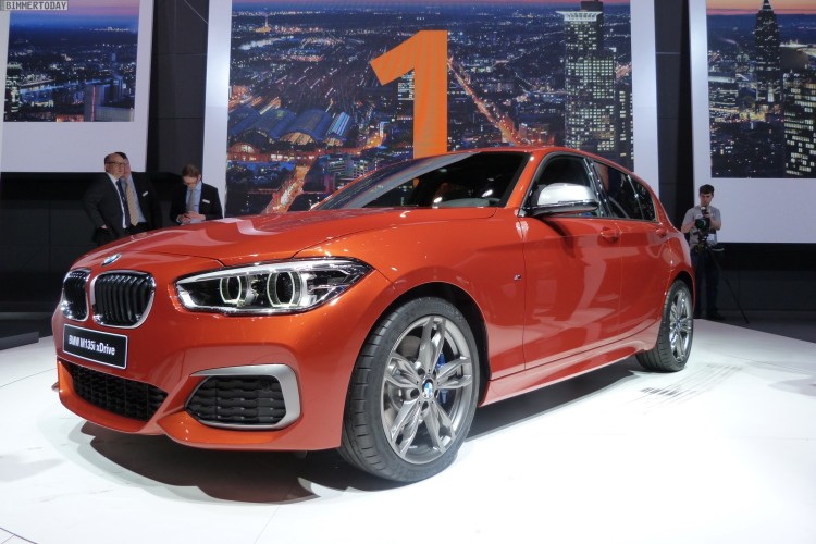 BMW M135i Facelift 2015 F20 LCI xDrive Valencia Orange Autosalon Genf Live 01 750x500