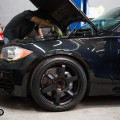 Jet Black BMW E82 1 Series With VOLK Wheels Installed