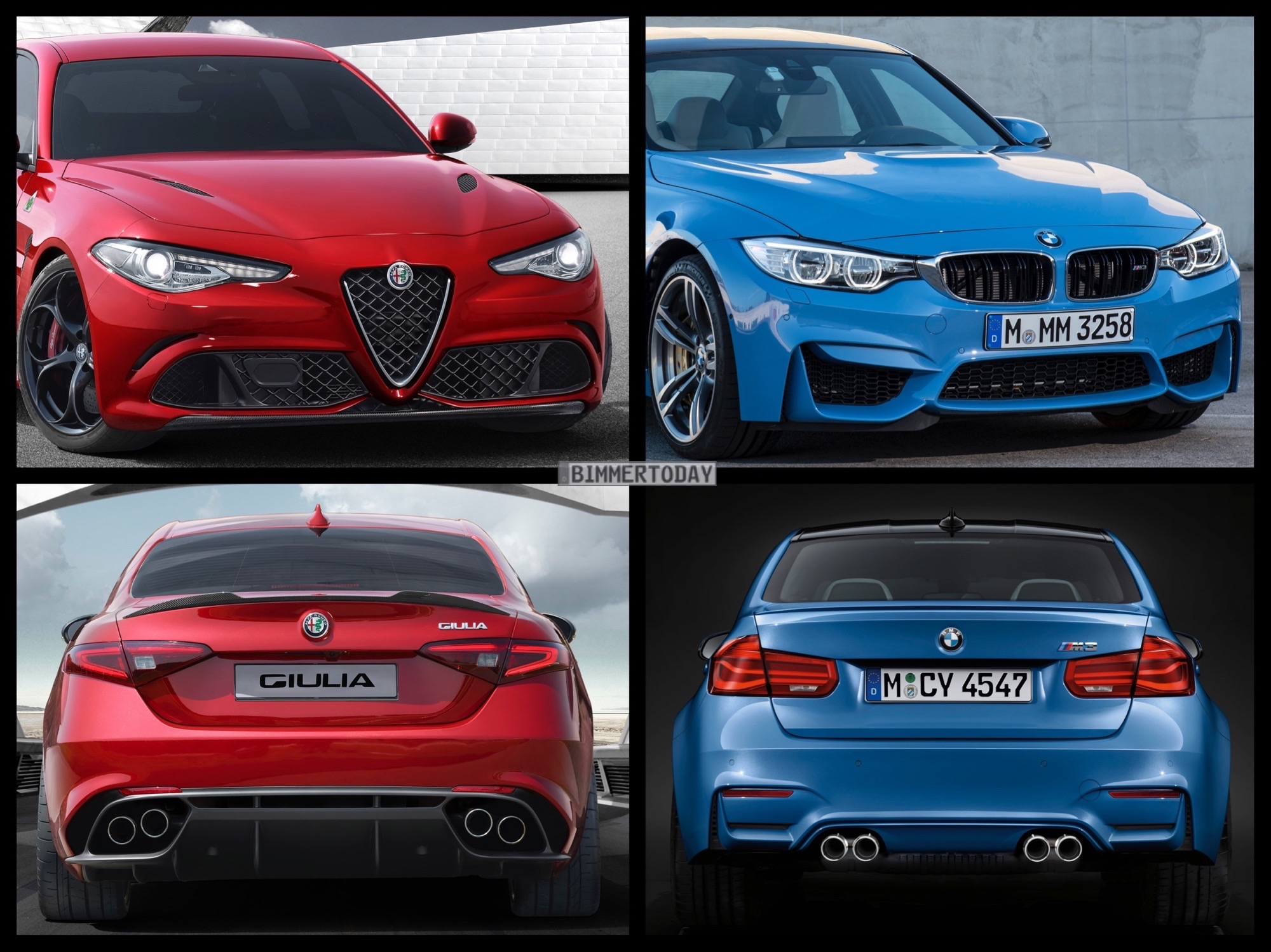 Bild Vergleich BMW M3 F80 Alfa Romeo Giulia 2016 01