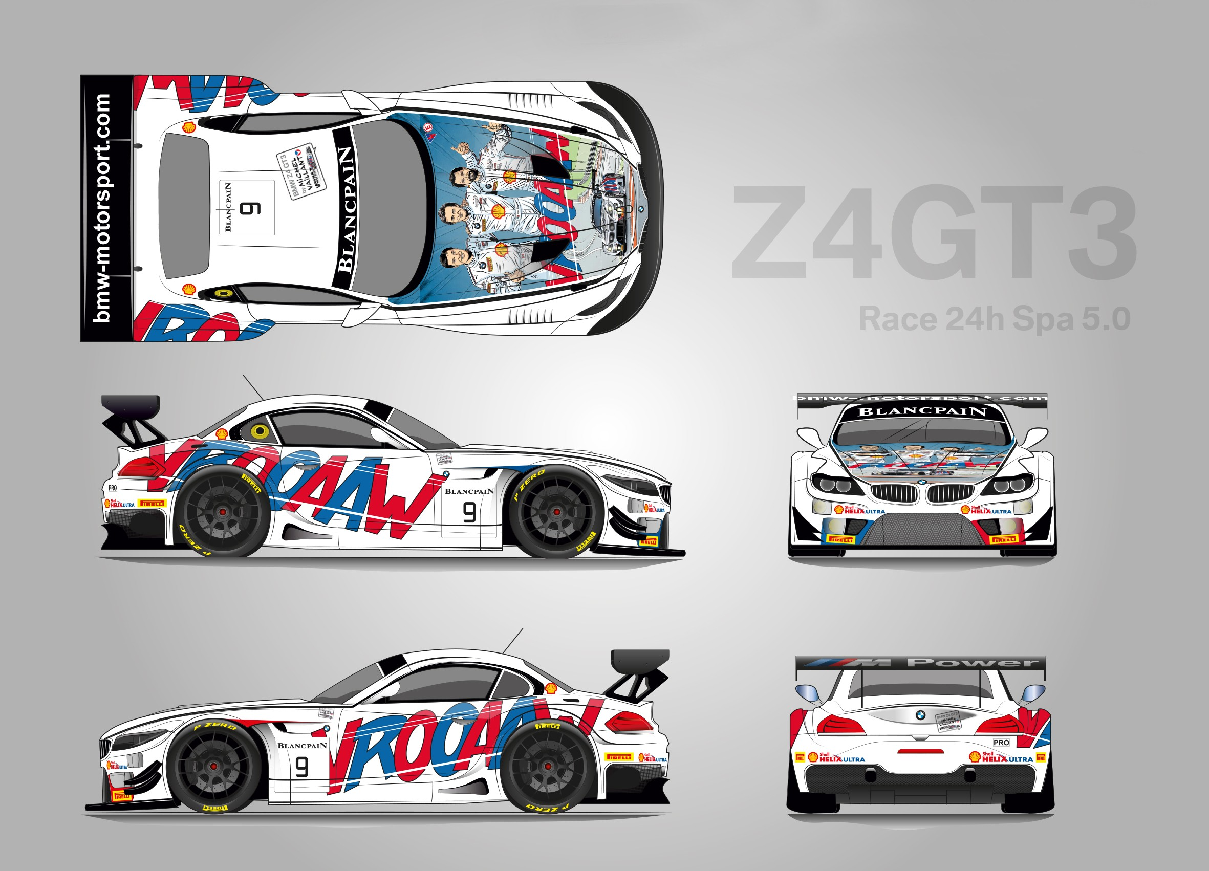 two bmw z4 gt3s carton style design