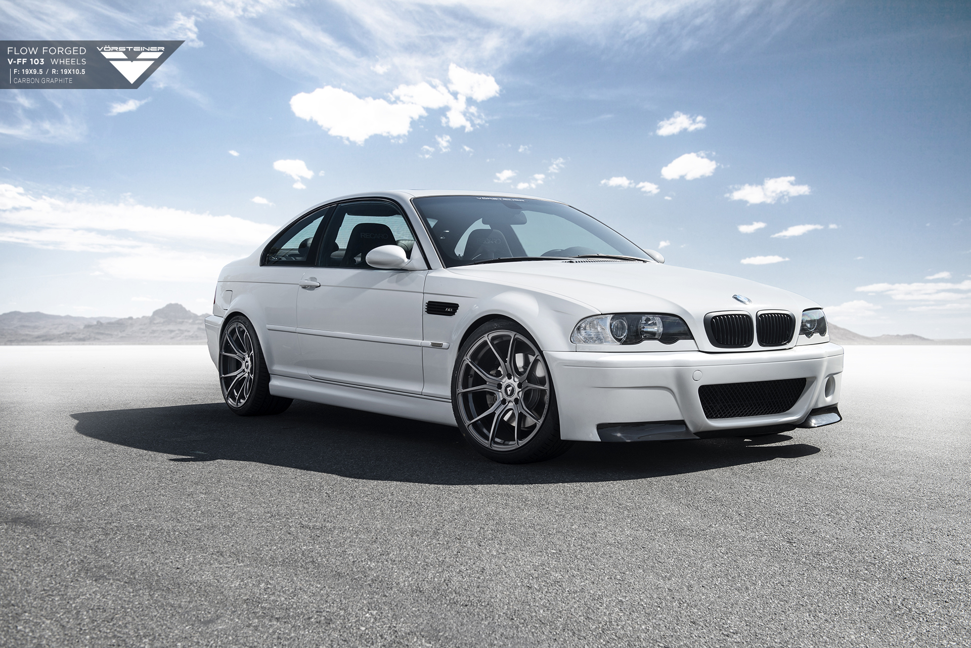 Alpine White Bmw E46 M3 With Vorsteiner Wheels