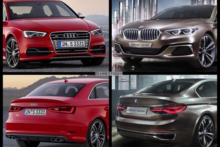 Bild Vergleich BMW Compact Sedan Concept 1er F52 Audi S3 Limousine 2015 01 750x500