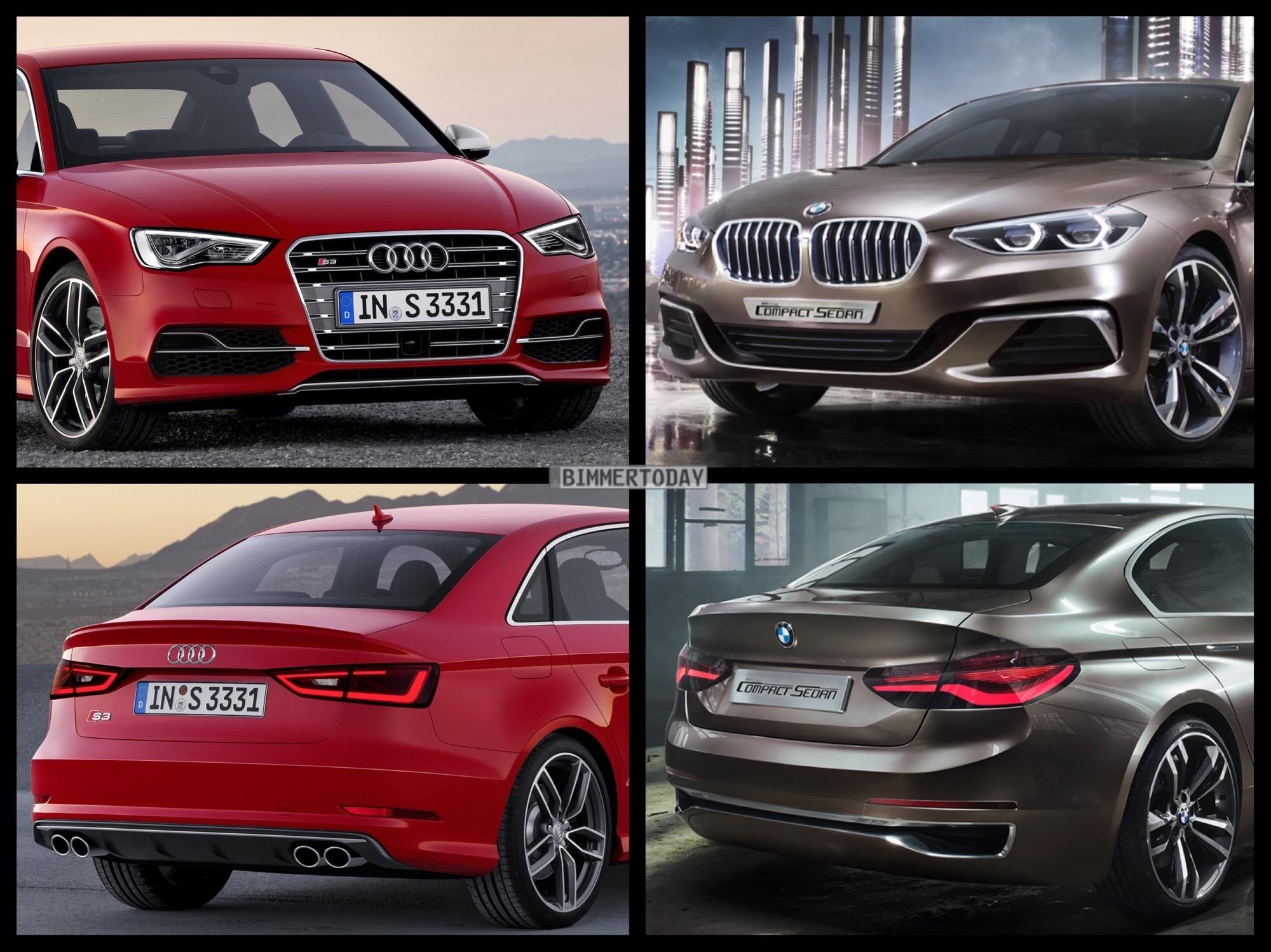 Bild Vergleich BMW Compact Sedan Concept 1er F52 Audi S3 Limousine 2015 01