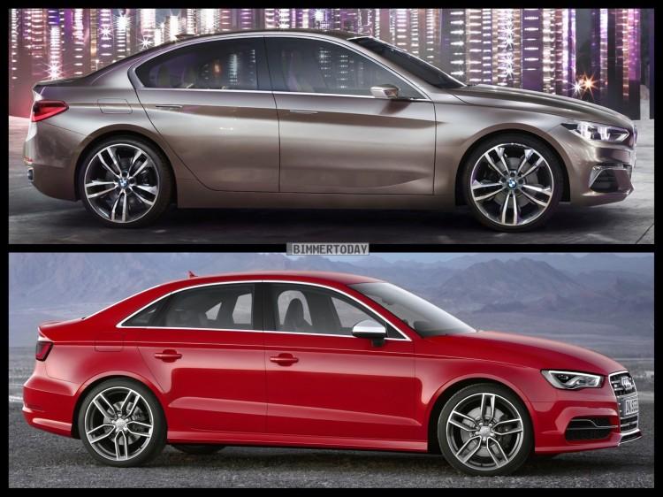 Bild Vergleich BMW Compact Sedan Concept 1er F52 Audi S3 Limousine 2015 04 750x562