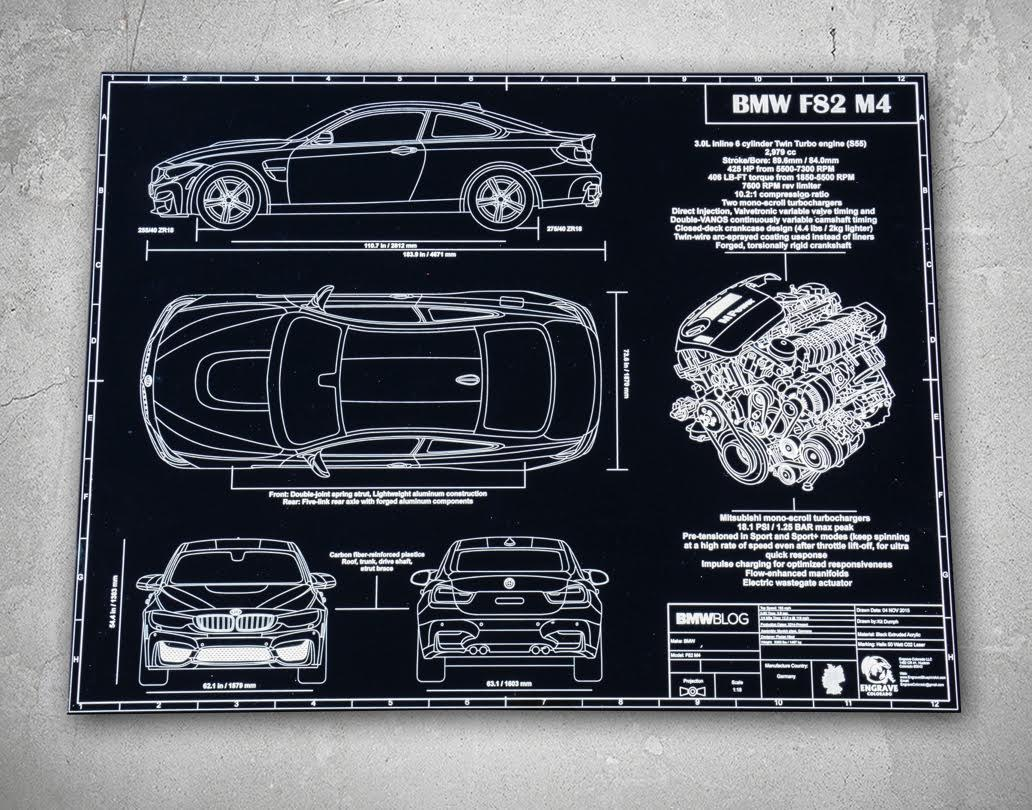 Engraved blueprints of bmw cars is the perfect gift for enthusiasts engraved blueprints bmw m4 malvernweather Images
