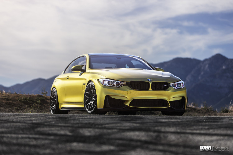 Austin Yellow BMW F82 M4 On VMR V710 Wheels In Matte Black 1 750x500