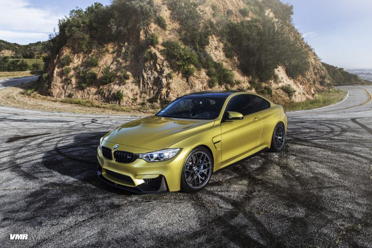Austin Yellow BMW F82 M4 On VMR V710 Wheels In Matte Black 7 750x500