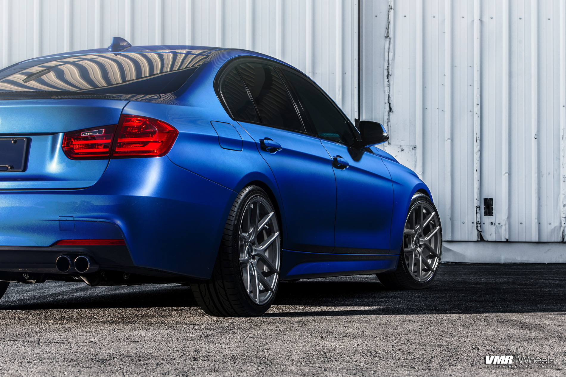 Bmw F30 328i Estoril Blue With Vmr V803 Gunmetal Custom Wheels