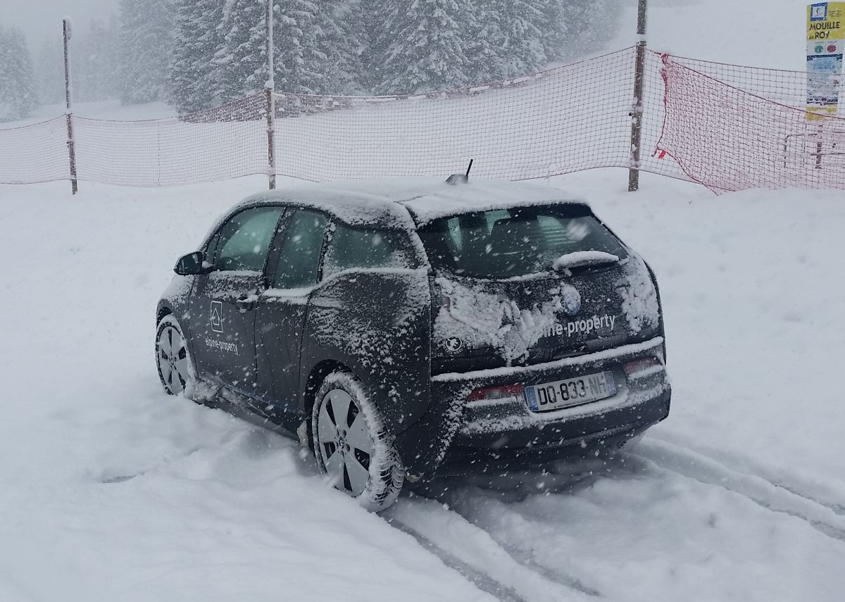 electric car in the alps