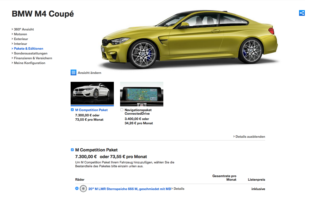 BMW M4 Competition Package