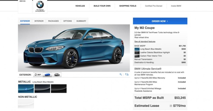 BMW M2 Configurator 750x391