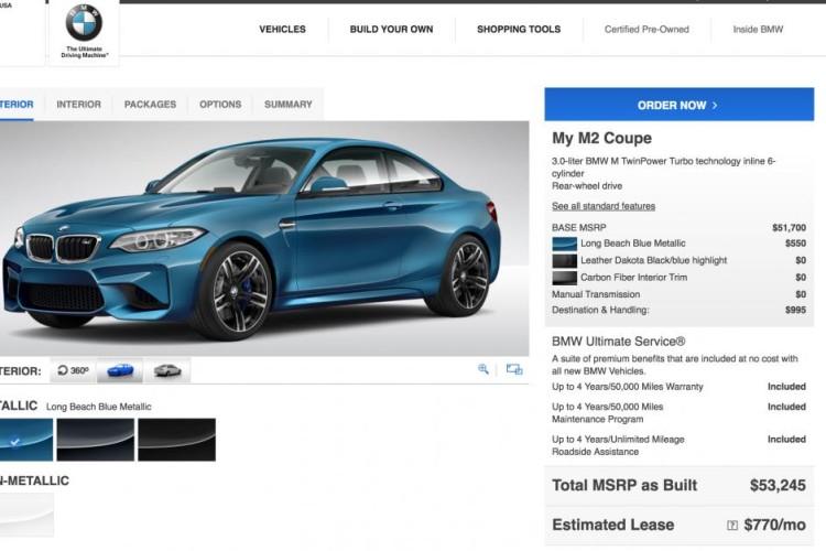 BMW M2 Configurator 750x500