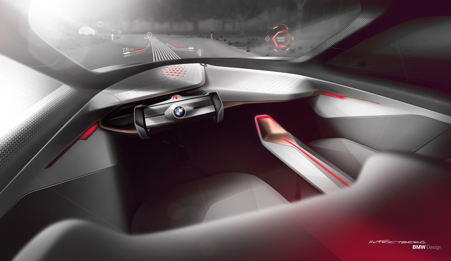 BMW Vision Next 100: Full-size Head-Up Display with Augmented Reality