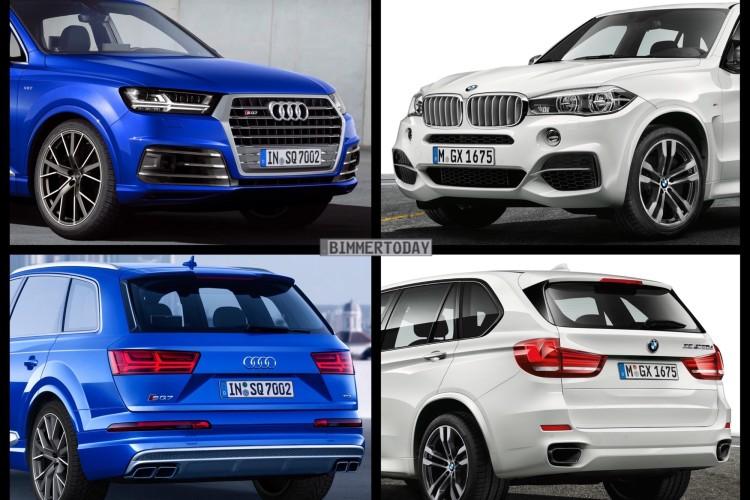 Bild Vergleich BMW X5 M50d F15 Audi SQ7 TDI Diesel SUV 2016 02 750x500