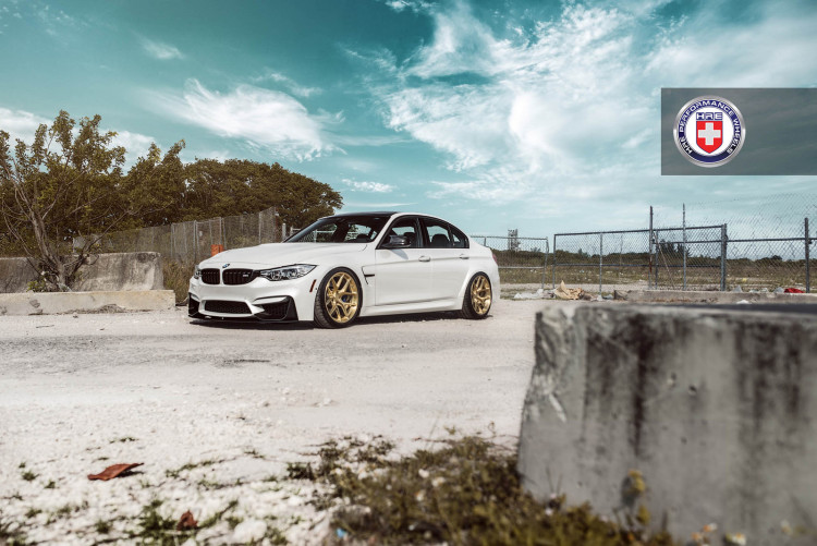 White BMW M3 with HRE R101 Wheels 10