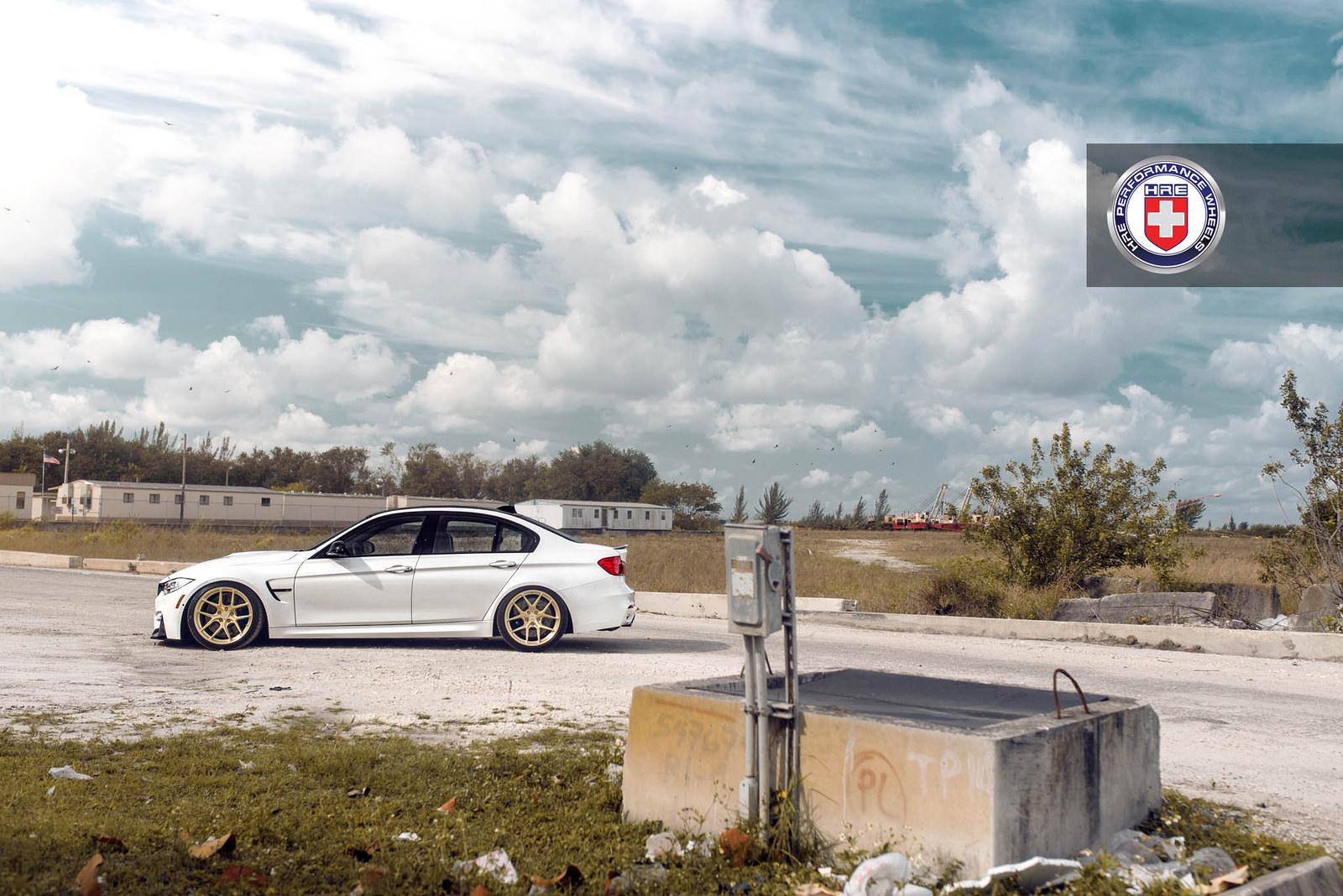 White BMW M3 with HRE R101 Wheels 7