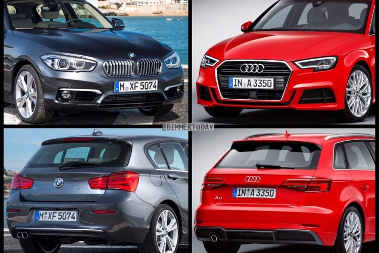 Bild Vergleich BMW 1er F20 Audi A3 Sportback Facelift 2016 01 750x500