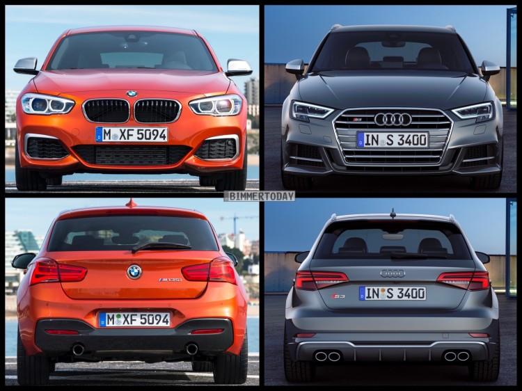 Bild Vergleich BMW 1er M135i F20 Audi S3 Sportback Facelift 2016 01 750x562