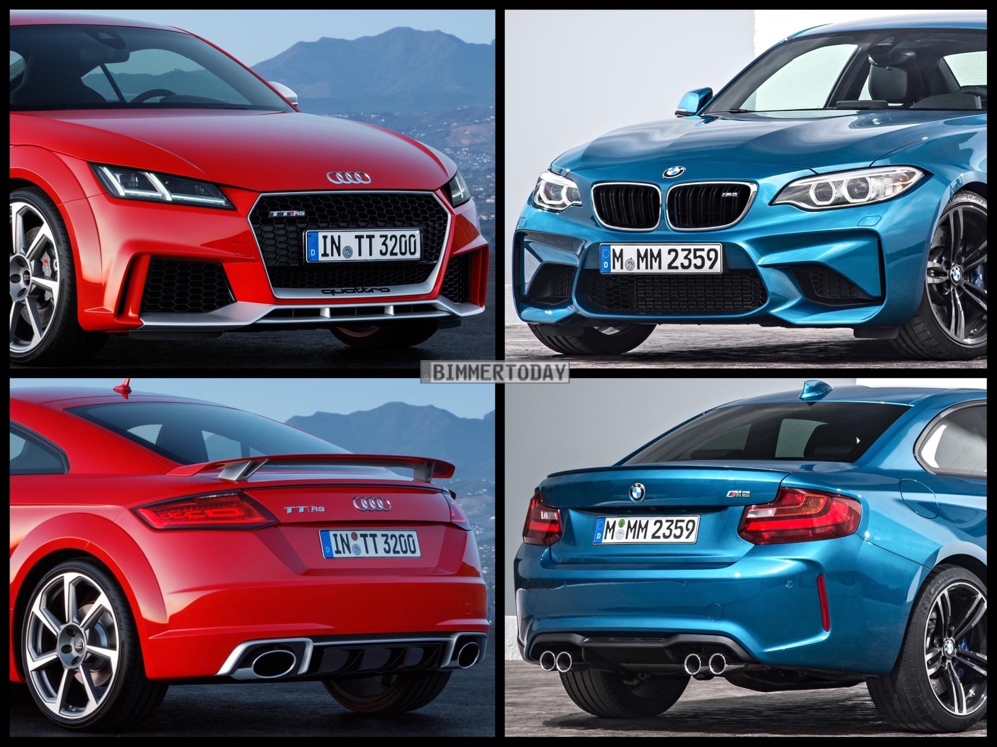Bild Vergleich BMW M2 F87 Audi TT RS Coupe 2016 01