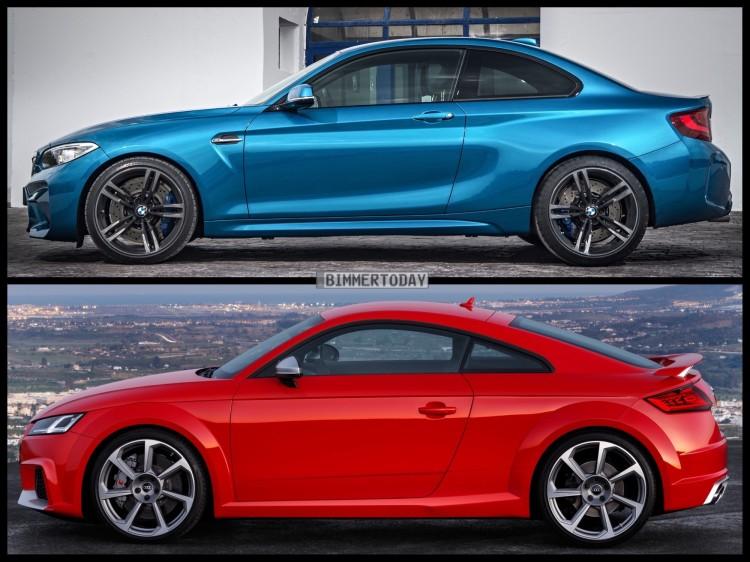 Bild Vergleich BMW M2 F87 Audi TT RS Coupe 2016 02 750x562
