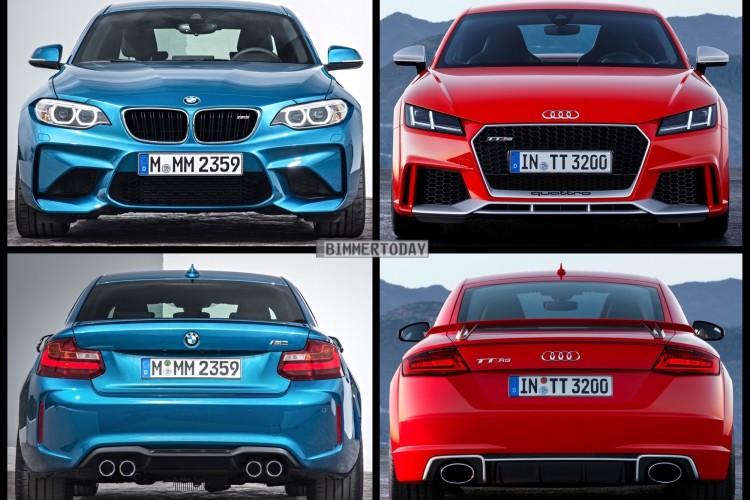 Bild Vergleich BMW M2 F87 Audi TT RS Coupe 2016 03 750x500