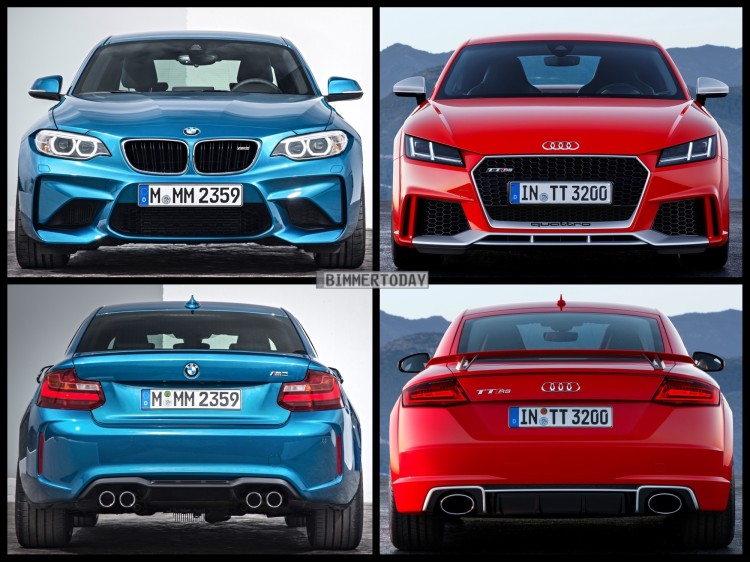Bild Vergleich BMW M2 F87 Audi TT RS Coupe 2016 03 750x562