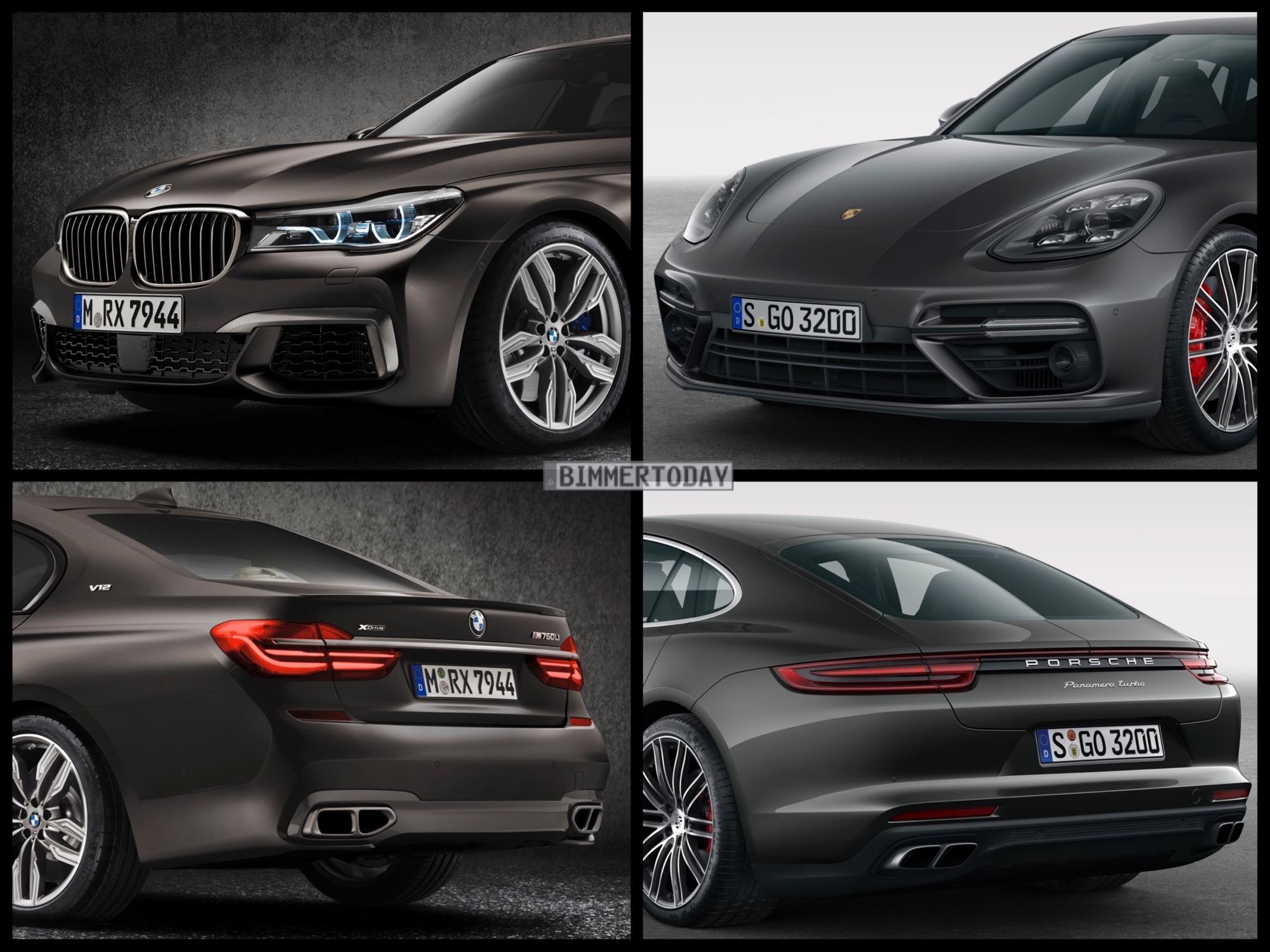 Bild Vergleich BMW 7er G11 M760Li Porsche Panamera Turbo 2016 01