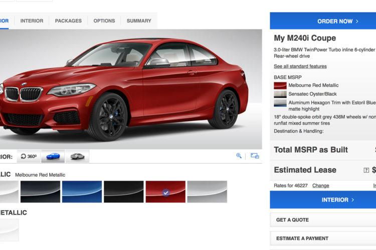 BMW M240i configurator 750x500