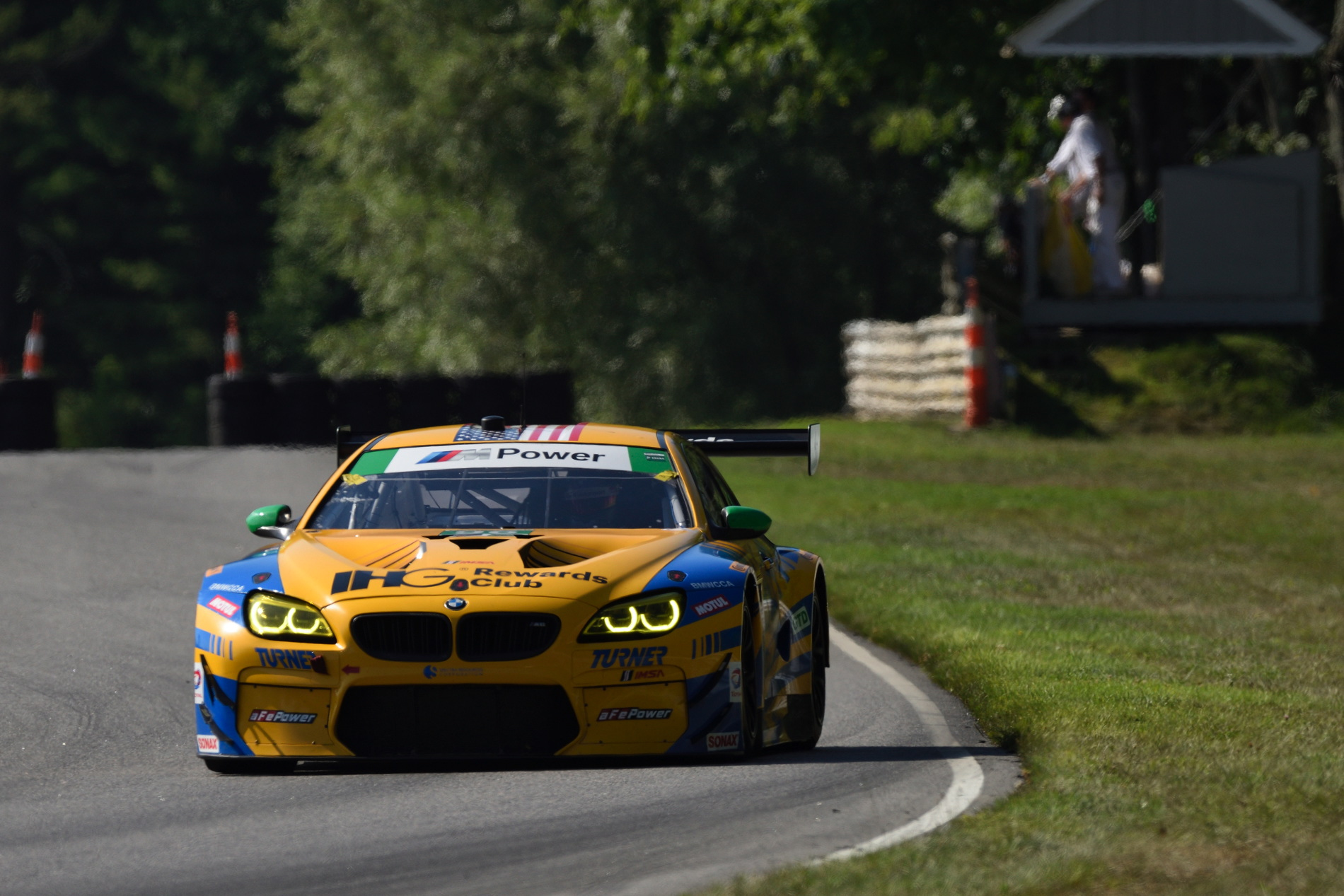 BMW M6 GTLM racing cars ended the day on the wrecker at Northeast Grand Prix