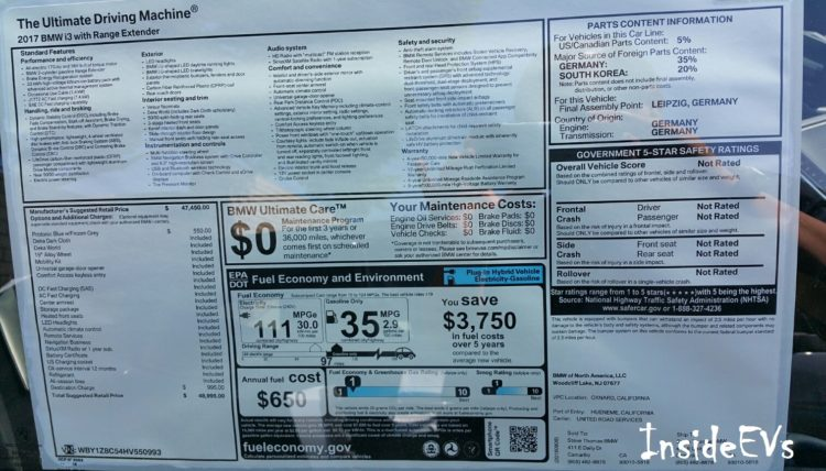2017 BMW i3 REx sticker 33 kWh 92AH 750x428