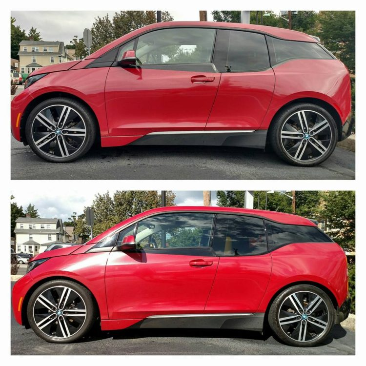 "My i3 before and after installing the H&R Sport springs. It dropped the car 1"" in the front and .8"" in the rear."