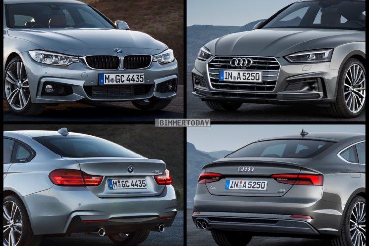 Bild Vergleich BMW 4er F36 Gran Coupe Audi A5 Sportback 2016 01 750x500