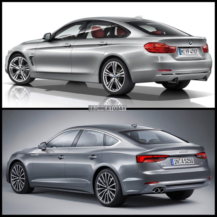 Bild Vergleich BMW 4er F36 Gran Coupe Audi A5 Sportback 2016 03 750x750