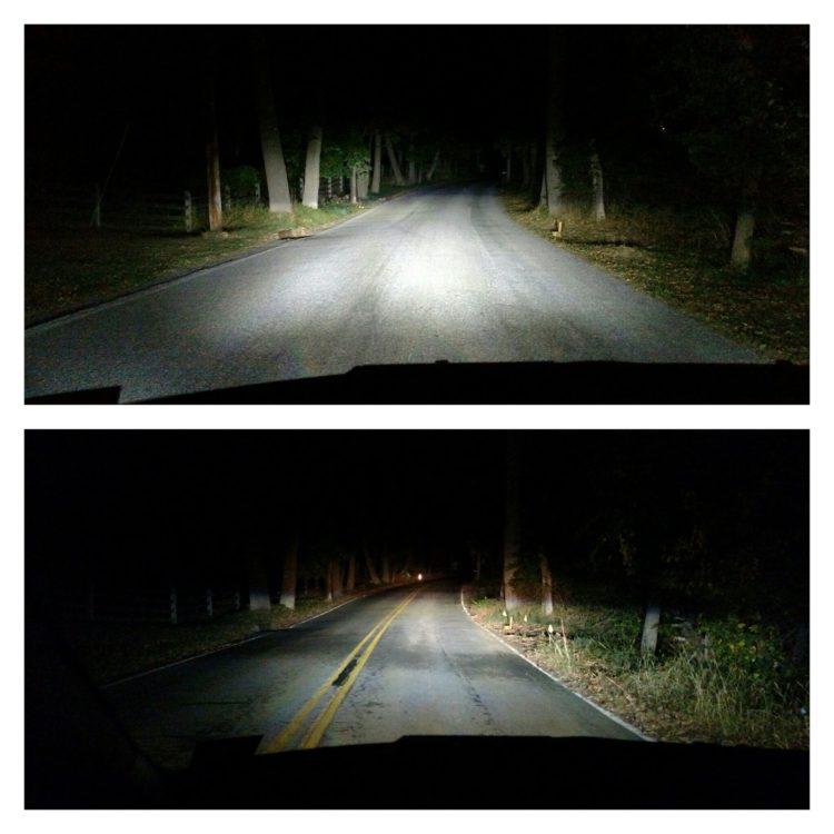 led-lights-dark-road