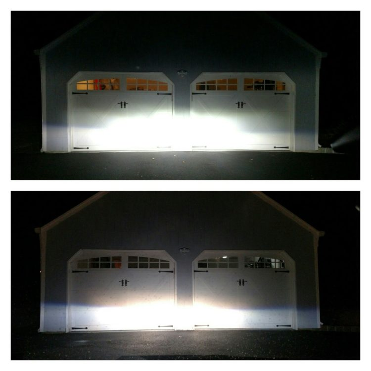 The picture on top demonstrates how much brighter the new LED bulbs are while shining on a wall that's about 20' away. The bottom picture was taken with the stock halogen bulbs.