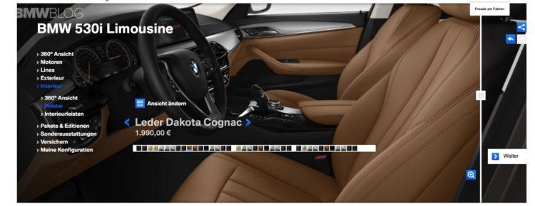 G30 BMW 5 Series online configuration 4 750x290