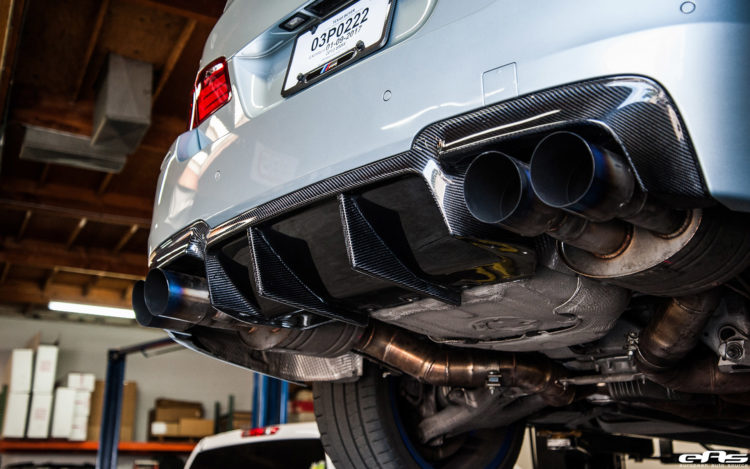Silverstone BMW M5 With Blue Wheels A Custom Exhaust Installed 13 750x469