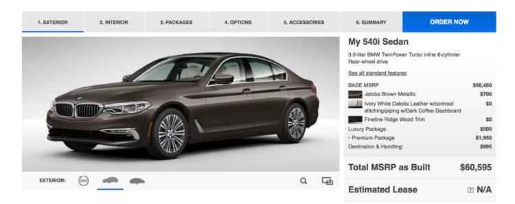 2017 BMW 5 Series online configurator 1 750x297