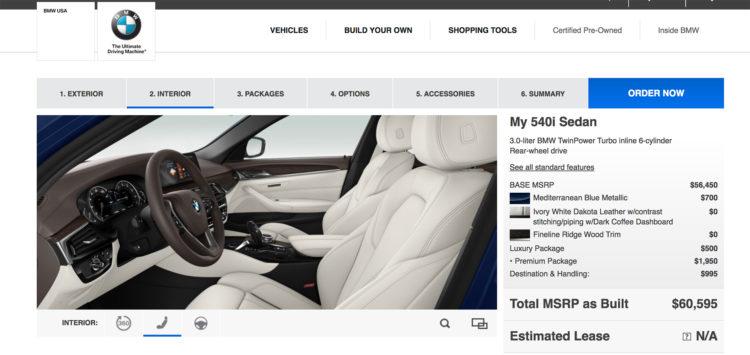 2017 BMW 5 Series online configurator 2 750x355