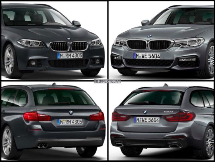 Bild Vergleich BMW 5er G31 F11 LCI Touring 2017 M Sportpaket 01 750x563