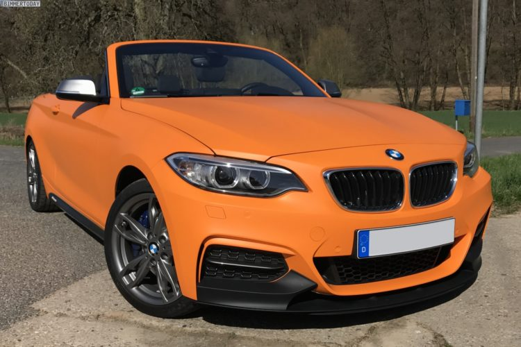 BMW M240i Cabrio M Performance Tuning Folierung Orange matt 01 750x500