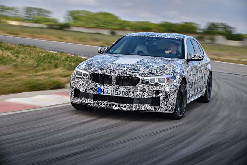 2018 BMW M5 Prototype front three quarter in motion 10 830x553