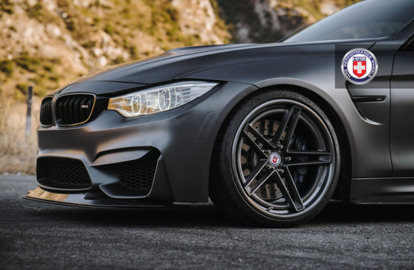 Matte Black BMW M4 With HRE Wheels Image 4 830x541