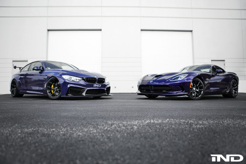 Ultraviolet Purple BMW M4 Meets Stryker Purple Dodge Viper ACR Image 5 830x553