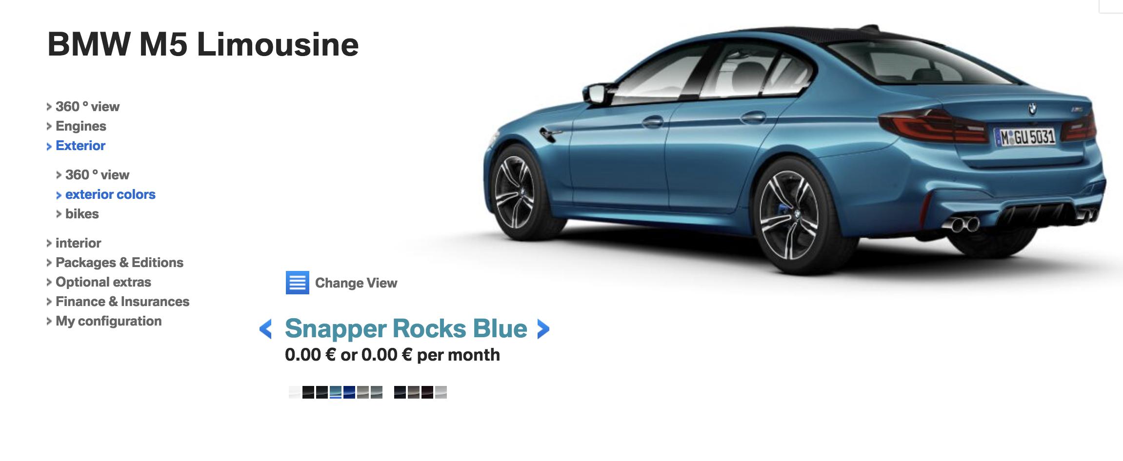 BMW M5 F90 Snapper Rocks Blue