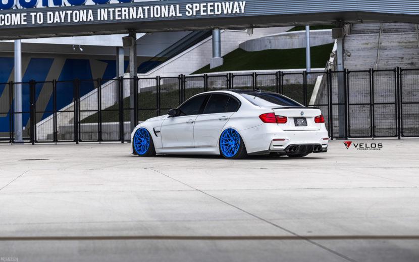 Alpine White BMW M3 With Candy Blue Velos Designwerks Wheels Image 8 830x519