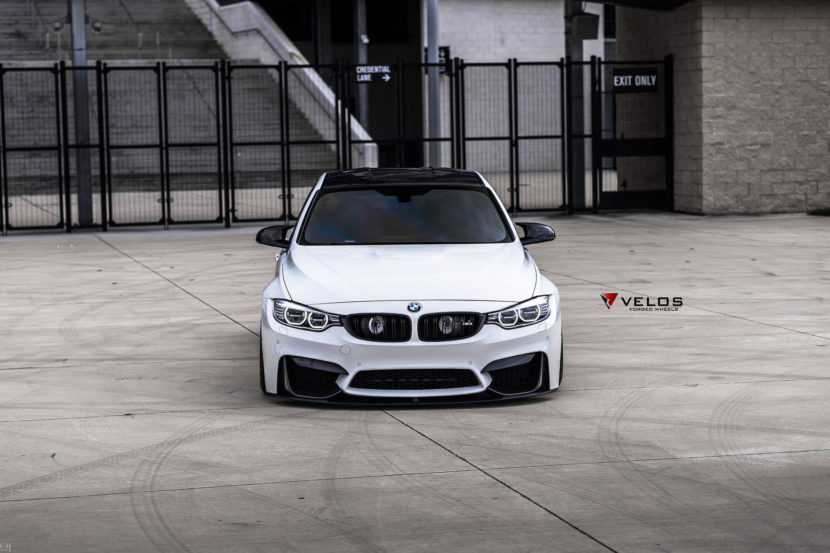 Alpine White BMW M3 With Candy Blue Velos Designwerks Wheels Image 9 830x553