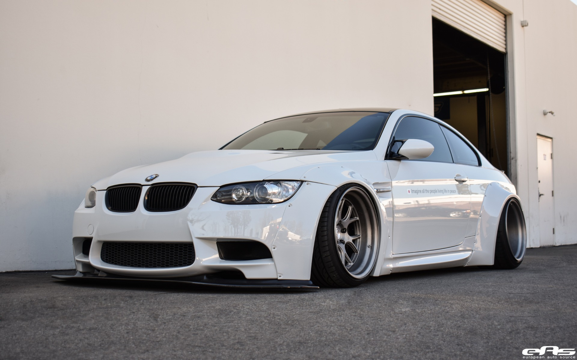 alpine white bmw e92 m3 with a liberty walk widebody kit. Black Bedroom Furniture Sets. Home Design Ideas