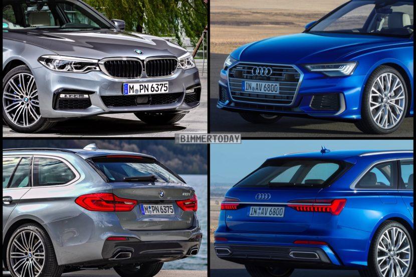 Bild Vergleich BMW 5er Touring G31 Audi A6 Avant C8 2018 01 830x553